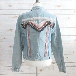 Boom Boom Jeans Embroidered Boho Denim Jacket